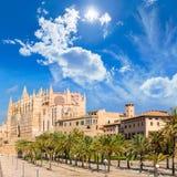 Majorca Palma Cathedral Seu Seo of Mallorca. At Balearic Islands Spain Stock Photo