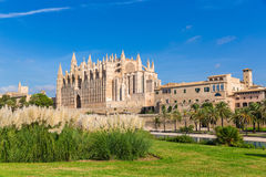 Majorca Palma Cathedral Seu Seo of Mallorca. At Balearic Islands Spain Royalty Free Stock Photos