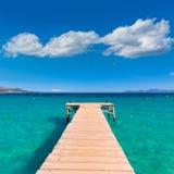 Majorca Platja de Muro beach Alcudia bay Mallorca. Majorca Platja de Muro beach pier in Alcudia bay in Mallorca Balearic islands of Spain Royalty Free Stock Photos