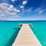 Majorca Platja de Muro beach Alcudia bay Mallorca. Majorca Platja de Muro beach pier in Alcudia bay in Mallorca Balearic islands of Spain Royalty Free Stock Images