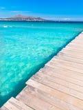 Majorca Platja de Muro beach Alcudia bay Mallorca. Majorca Platja de Muro beach pier in Alcudia bay in Mallorca Balearic islands of Spain Royalty Free Stock Photo
