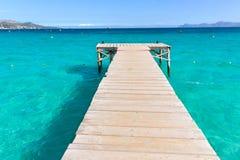 Majorca Platja de Muro beach Alcudia bay Mallorca. Majorca Platja de Muro beach pier in Alcudia bay in Mallorca Balearic islands of Spain Royalty Free Stock Photography