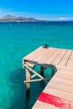 Majorca Platja de Muro beach Alcudia bay Mallorca. Majorca Platja de Muro beach pier in Alcudia bay in Mallorca Balearic islands of Spain Stock Photos