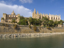 Majorca's Cathedral. Panoramic view of the fantastic surroundings of Majorca's Cathedral Royalty Free Stock Photography
