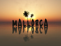 Majorca sign at sunset Stock Photos