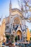 Beautiful church of Soller on Mallorca, Spain. Majorca Soller, view of cathedral church Sant Bartomeu with picturesque barock gothic architecture stock image