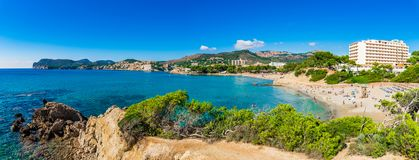 Majorca Spain, beach at coast of Paguera, Mediterranean Sea, Balearic Islands royalty free stock photography