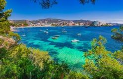 Majorca Spain, beach coastline of Magaluf. Stock Photos