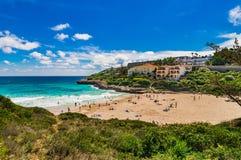 Majorca Spain, beautiful seaside landscape of Cala Mendia beach. Beautiful island scenery, bay beach of Cala Mandia, Mallorca Spain Stock Photo