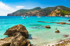 Majorca Spain Camp de Mar beach and bay landscape. Idyllic view of bay with boats and beach in Camp de Mar, Majorca island, Spain Mediterranean Sea, Balearic Stock Photography