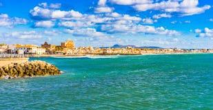 Majorca Spain, coast view of Portixol of Palma de Majorca. Coastline view of Palma de Mallorca district Portixol, Spain Balearic islands Stock Photos