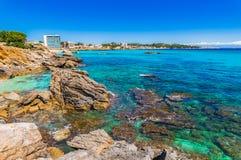 Majorca Spain island, panoramic view of coast landscape o Cala Ratjada. Beautiful view of the coastline in Cala Rajada, Mallorca island Spain royalty free stock photo