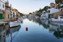 Fisherman village Cala Figuera, Mallorca, Spain. Majorca, Spain - November 18, 2017: Fishermen village Cala Figuera in tourist Balearic island of Mallorca, Spain Stock Photo