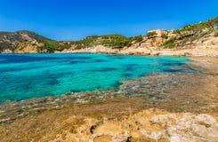 Majorca Spain, seaside landscape at bay of Camp de Mar. Idyllic sea view of the coast bay in Camp de Mar, Mallorca island, Spain Mediterranean sea Stock Images