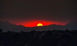 Majorca, Spanje Donkere zonsondergang Royalty-vrije Stock Afbeelding