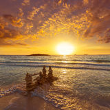 Majorca Sunset in Es Trenc beach in Campos Stock Photos