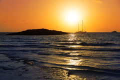 Majorca Sunset in Es Trenc beach in Campos Royalty Free Stock Photo