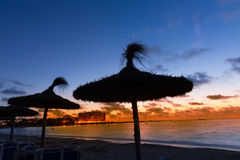 Majorca Sunset in Es Trenc beach in Campos Stock Photo