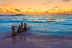 Majorca Sunset in Es Trenc beach in Campos Royalty Free Stock Photography