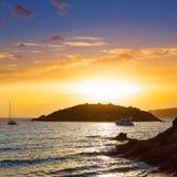 Majorca sunset in sant Elm near sa Dragonera Stock Photo