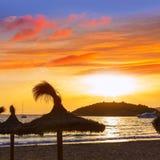 Majorca sunset in sant Elm near sa Dragonera Stock Photography