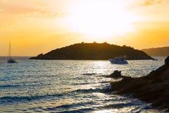 Majorca sunset in sant Elm near sa Dragonera Stock Images