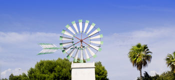 Majorca white windmill in Palma de Mallorca. At Balearic islands Royalty Free Stock Photos