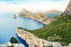 Mirador Es Colomer or Cap Formentor , Mallorca. Majorca wild and beautiful landscape of Mirador Es Colomer or Cap Formentor with coast and cliffs on the north Royalty Free Stock Photo