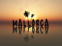 Majorca-Zeichen bei Sonnenuntergang Stockfotos