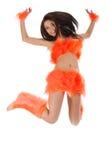 Majorette dans le costume orange photo stock