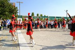 Majorette show of the Milan Institute Martinitt e Stelline at the EXPO Milano 2015. Royalty Free Stock Image