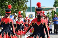 Majorette show of the Milan Institute Martinitt e Stelline at the EXPO Milano 2015. Royalty Free Stock Images