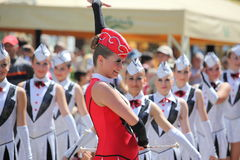 Majorettes' leader Stock Images