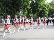 Majorettes in the marching parade contest during National champi Royalty Free Stock Photos