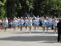 Majorettes in the marching parade contest during National champi Stock Photo