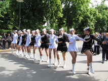 Majorettes in the marching parade contest during National champi Stock Image