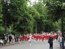 Majorettes in the marching parade contest during National champi Royalty Free Stock Images