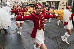MAJORETTES od Montenegro tana wykonującego na cześć wiosnę Obraz Stock