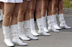 Majorettes parade. Beautifull majorettes legs on folklore carnival parade Royalty Free Stock Photos