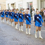 Majorettes in a row Royalty Free Stock Photo