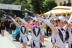 Majorettes showing their batons Royalty Free Stock Photo