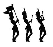 Majorettes in silhouette. In various positions Royalty Free Stock Photos
