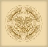 Majowie kalendarz Majscy lub aztek wektorowi hieroglifu symbole royalty ilustracja
