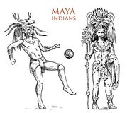 Majowie rocznika styl Aztek kultura Portret mężczyzna, tradycyjny kostium i dekoracja na głowie, Rodzimy plemię ilustracja wektor