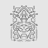 Majski Maskowy kreskowy styl ilustracja wektor