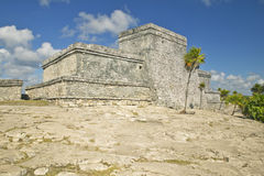 Majskie ruiny Ruinas De Tulum w Quintana Roo, półwysep jukatan, Meksyk (Tulum ruiny) El Castillo obrazuje w tle Obrazy Stock
