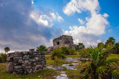 Majskie ruiny w Tulum, Meksyk Ruiny budowali na wysokich falezach na morzu karaibskim Tulum był jeden ostatni miasta budujący Zdjęcie Royalty Free