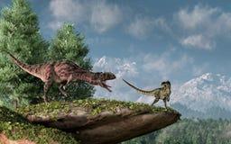 Majungasaurus and Monolophosaurus vector illustration