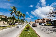 Majuro town central boulevard view. Central Business district, Marshall Islands, Micronesia, Oceania. stock photos