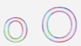 Majuscule et minuscule vibrant colorée o rendue utilisant une bulle Photos libres de droits